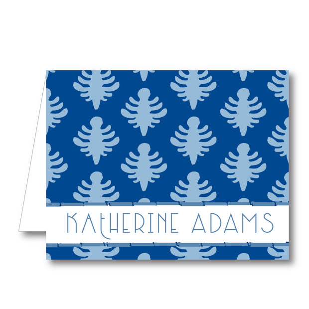Blue Block Print Folded Notecard