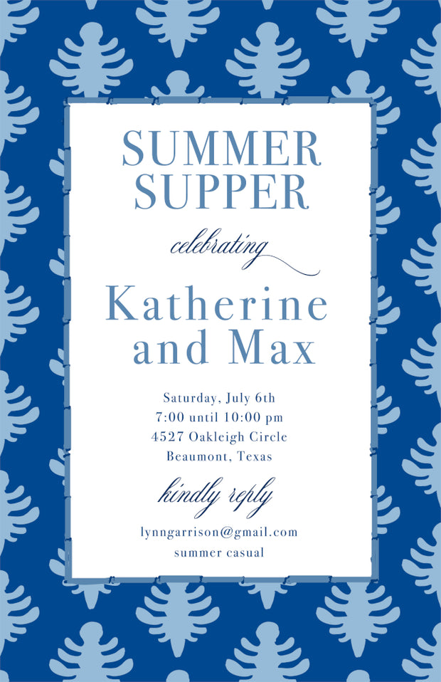 Blue Block Print Invitation