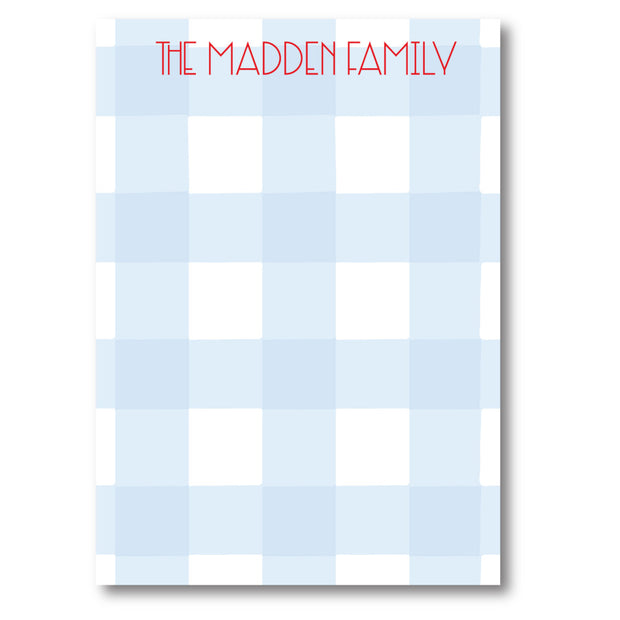 Light Blue Check Notepad