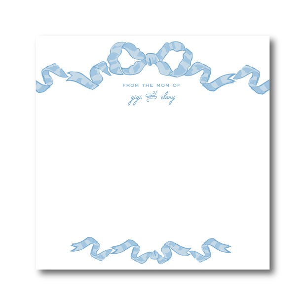Blue Chintz Bow Border Notepad