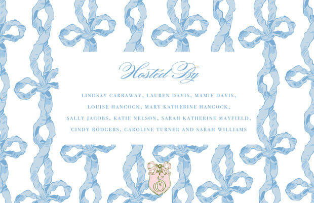Blue Chintz Bow Invitation