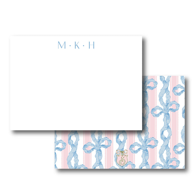 Blue/Pink Chintz Bow Stationery