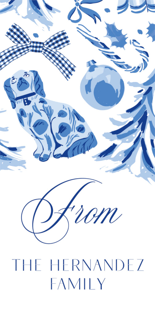 Blue Christmas Toile - Vertical Gift Tag