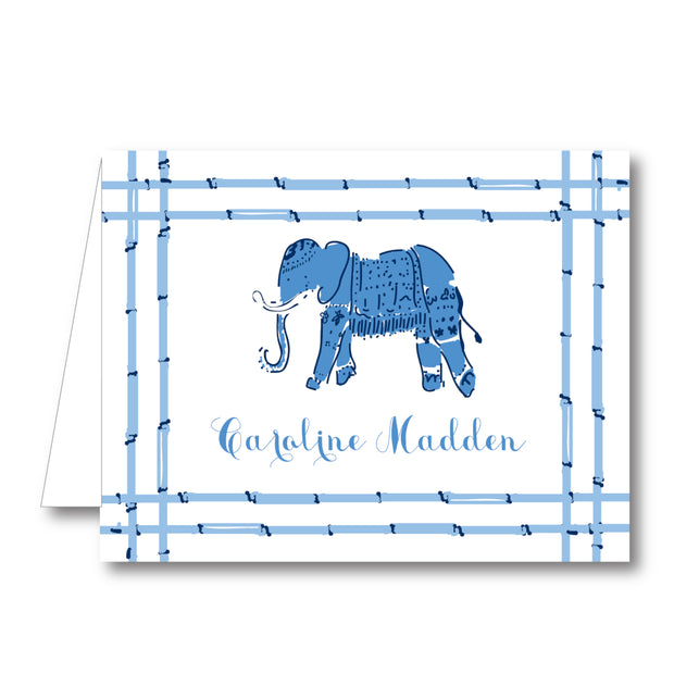 Blue Elephant Folded Notecard