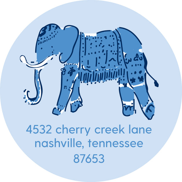 Blue Elephant Return Sticker