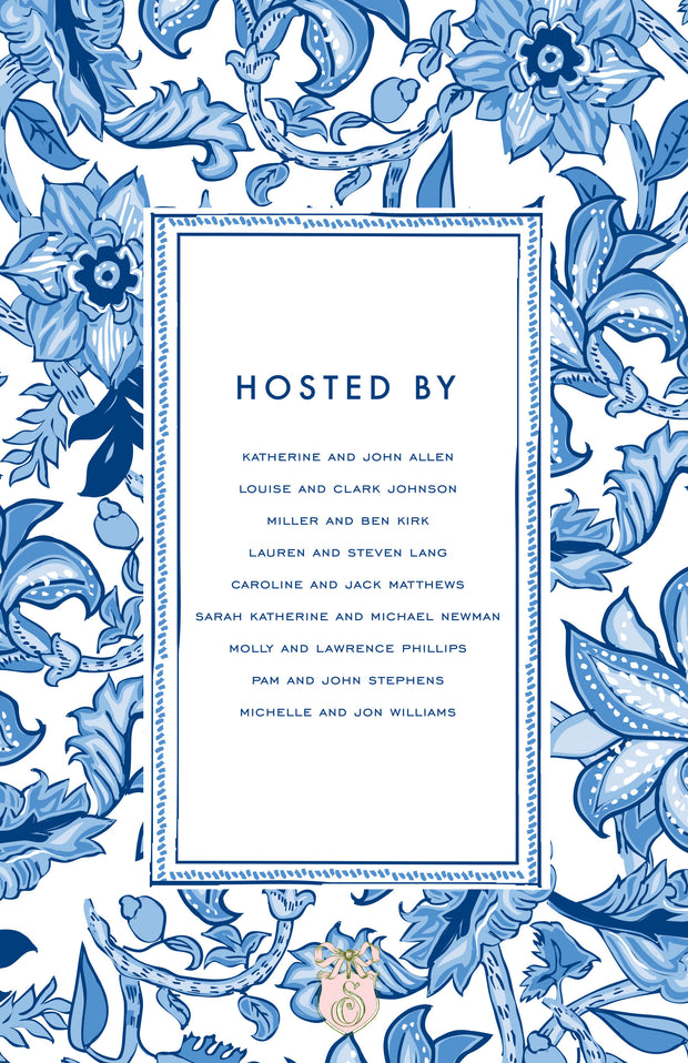 Blue Floral Block Border Invitation