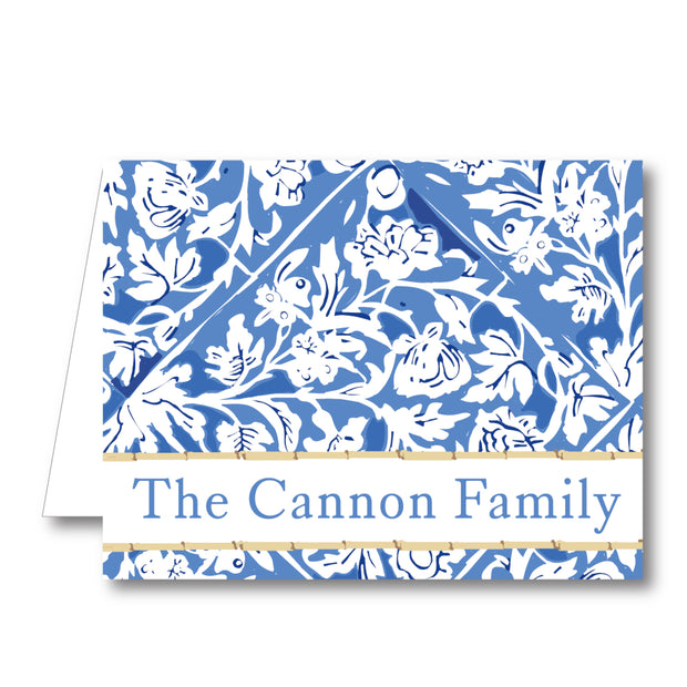 Blue Floral Folded Notecard