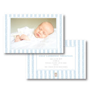 Blue Leaf Border Birth Announcement