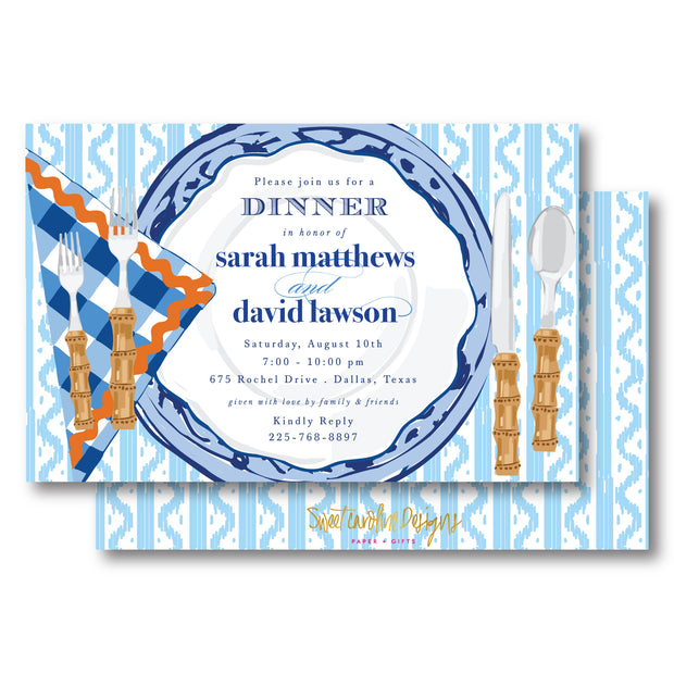Blue Place Setting Invitation