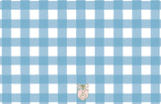 Blue Gingham Birth Announcement
