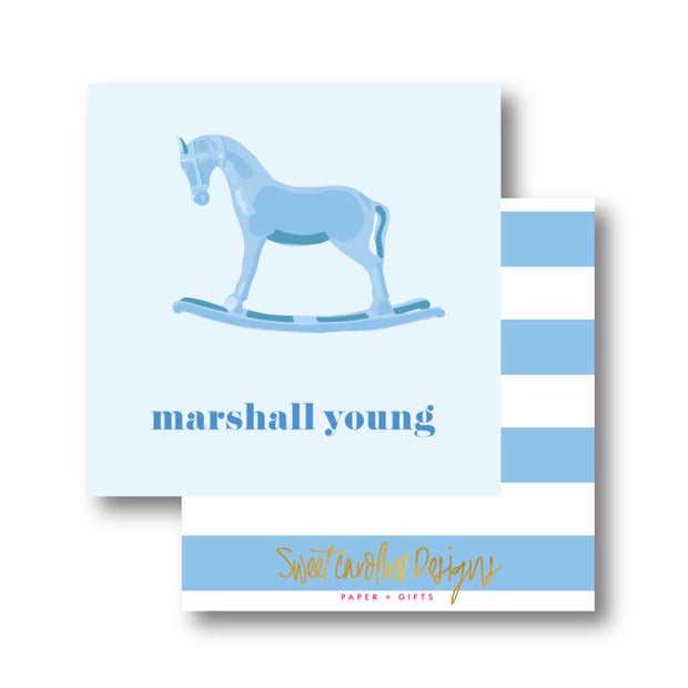 Blue Rocking Horse Calling Card