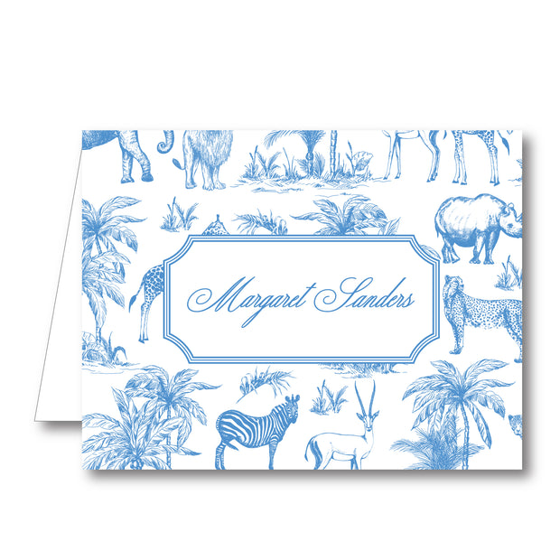 Blue Safari Toile Folded Notecard