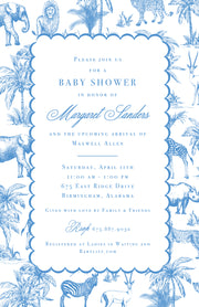 Blue Safari Toile Invitation