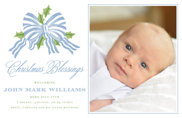 Blue Stripe Bow - Landscape Christmas Card