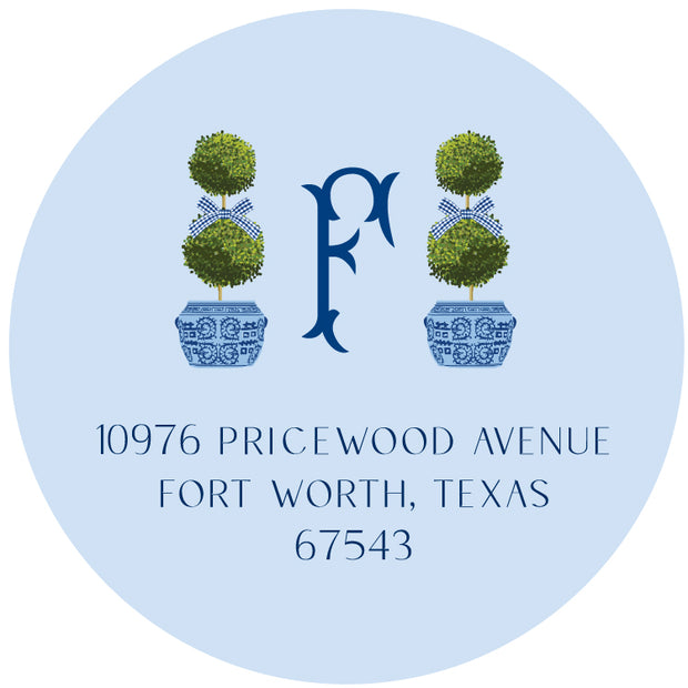 Blue Topiary Return Sticker
