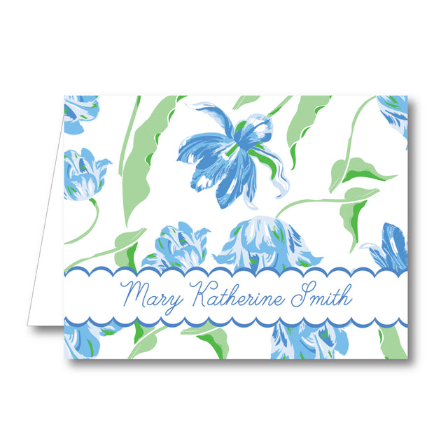 Blue Tulips Folded Notecard