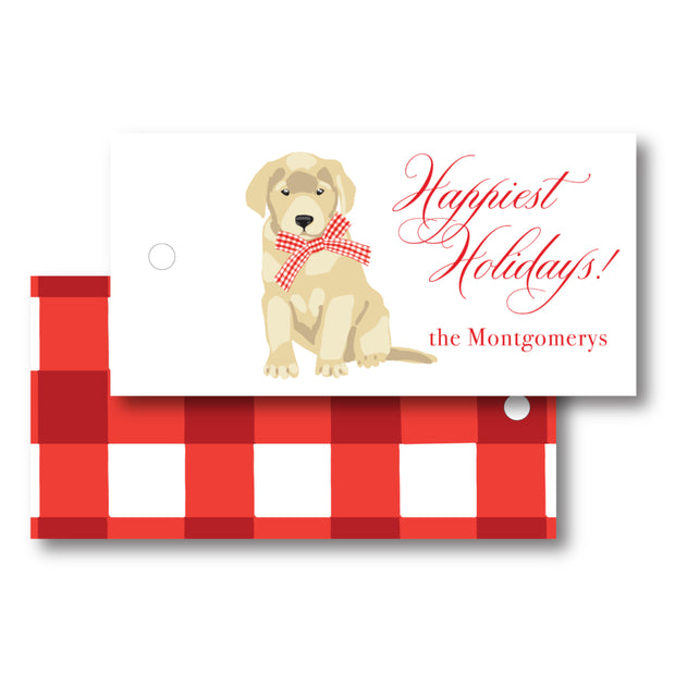 Christmas Puppy - Horizontal Gift Tag