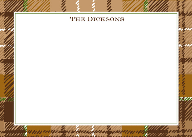 Brown Plaid Stationery