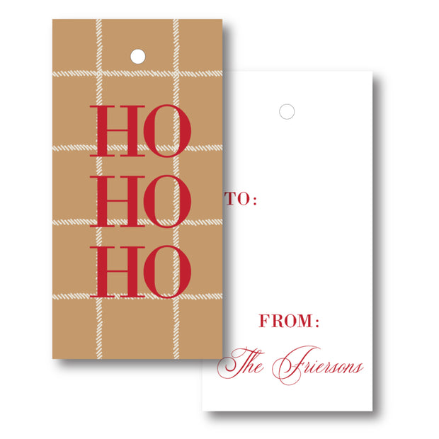 Camel Plaid - Vertical Gift Tag