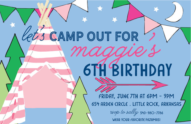 Camp - Girl Invitation