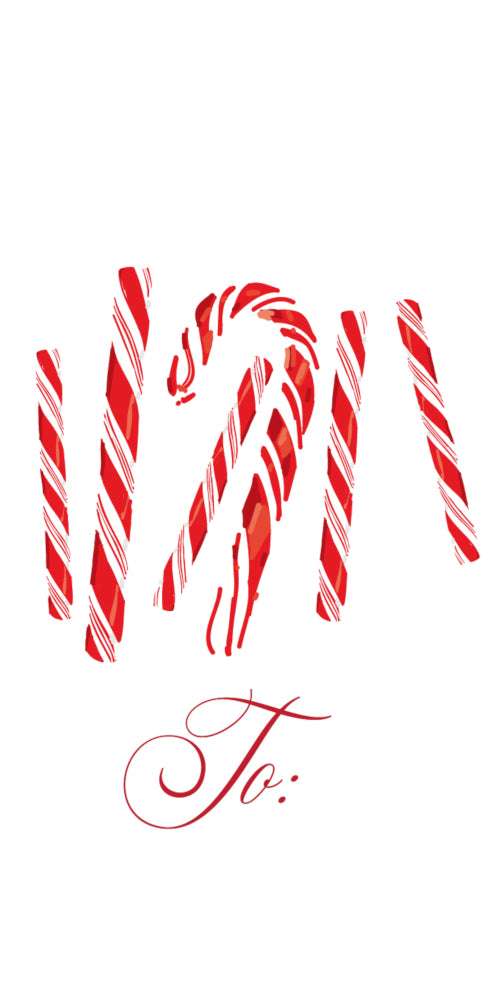 Candy Cane - Vertical Gift Tag