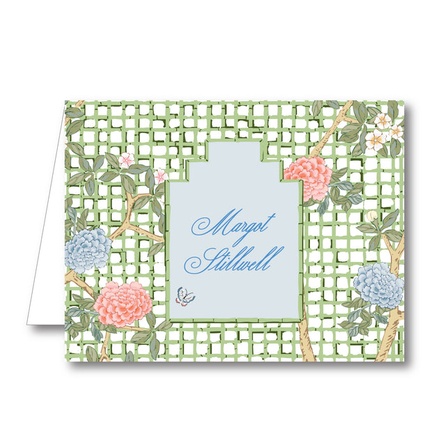 Chinoiserie Blooms Trellis Folded Notecard