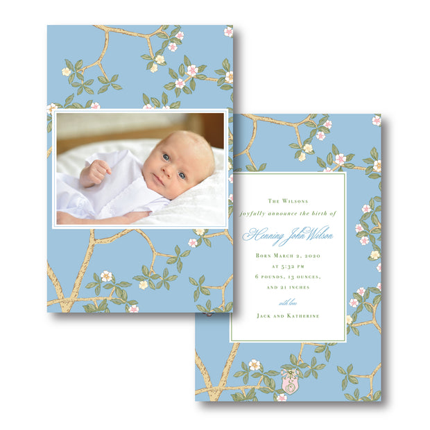 Chinoiserie Branch - Blue Birth Announcement - Portrait