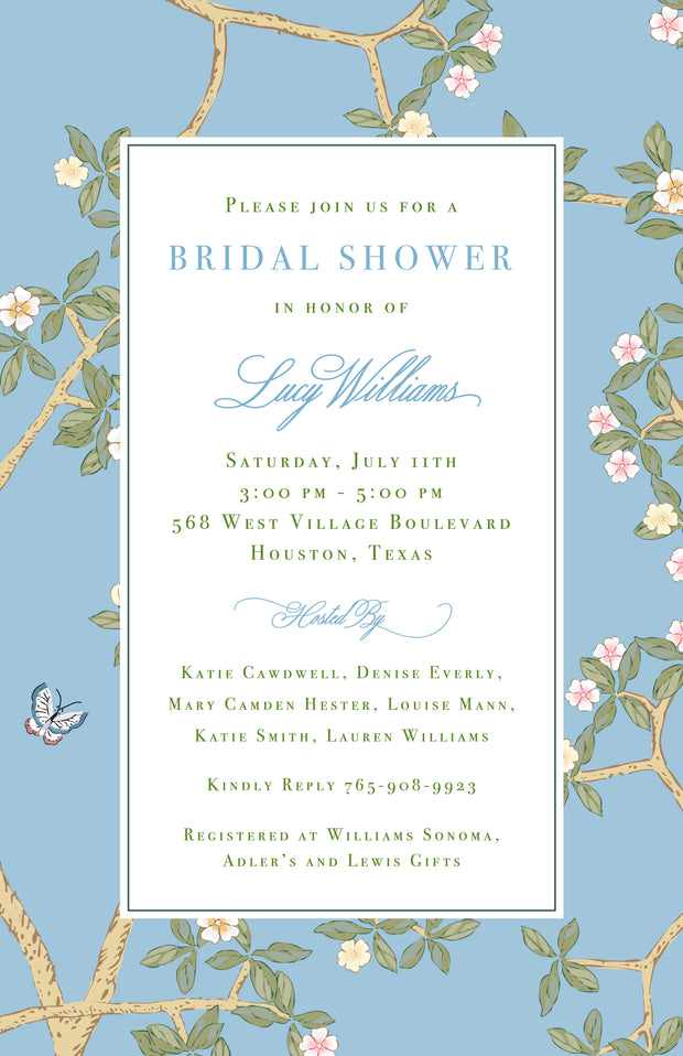 Chinoiserie Branch - Blue Invitation