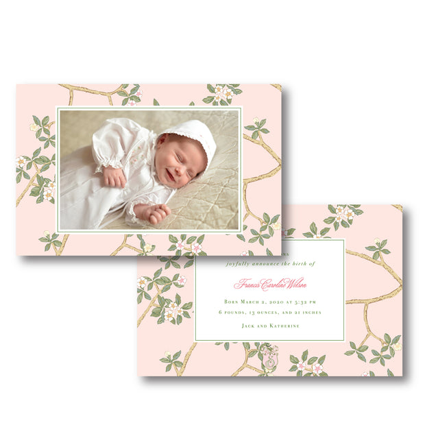 Chinoiserie Branch Birth Announcement - Landscape