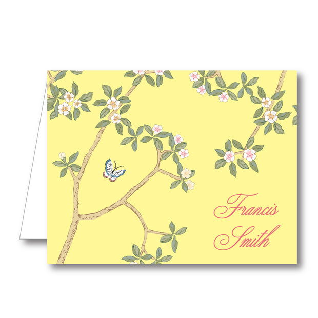 Chinoiserie Branch - Yellow Folded Notecard
