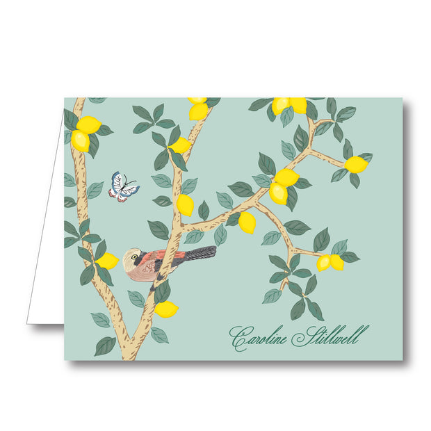 Chinoiserie Lemon Folded Notecard
