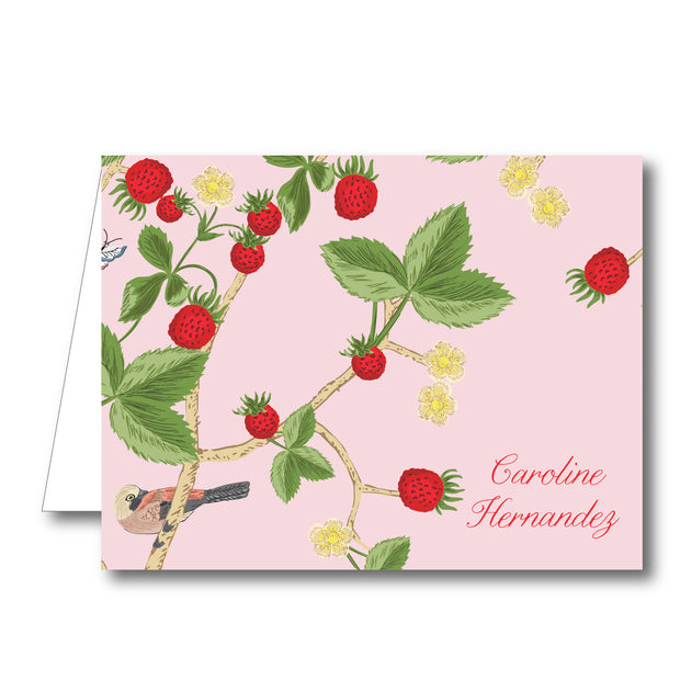 Chinoiserie Strawberry Folded Notecard