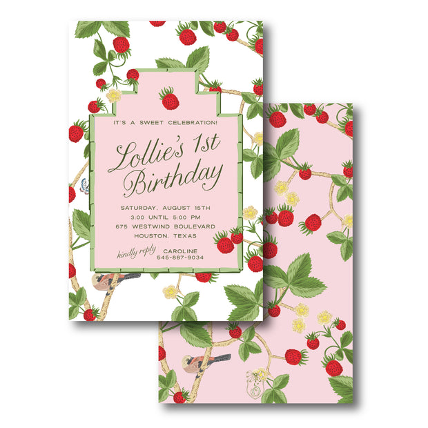 Chinoiserie Strawberry Invitation