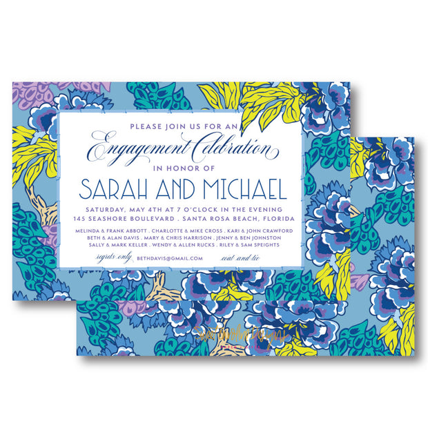 Blue Chinoiserie Border Invitation