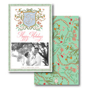 Christmas Chinoiserie Branch Crest - Portrait Christmas Card
