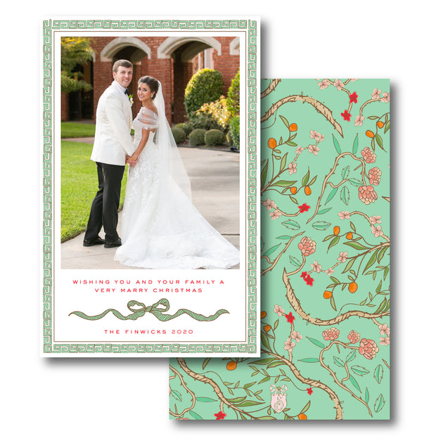 Christmas Chinoiserie Branch - Portrait Christmas Card