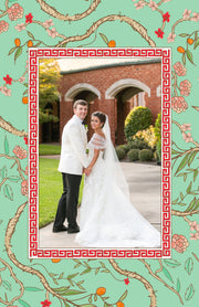 Christmas Chinoiserie Branch Border - Portrait Christmas Card
