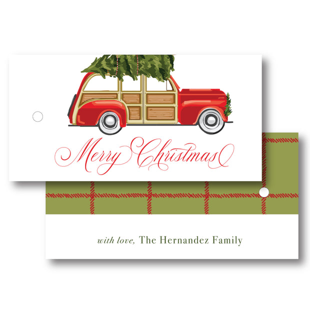 Christmas Car - Horizontal Gift Tag