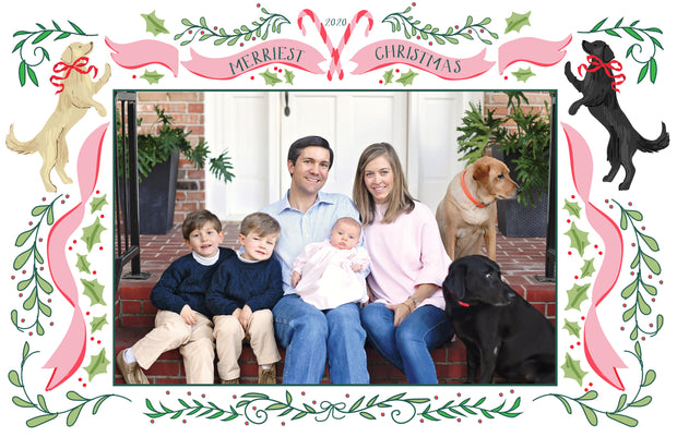 Christmas Puppy Crest Border - Landscape Christmas Card