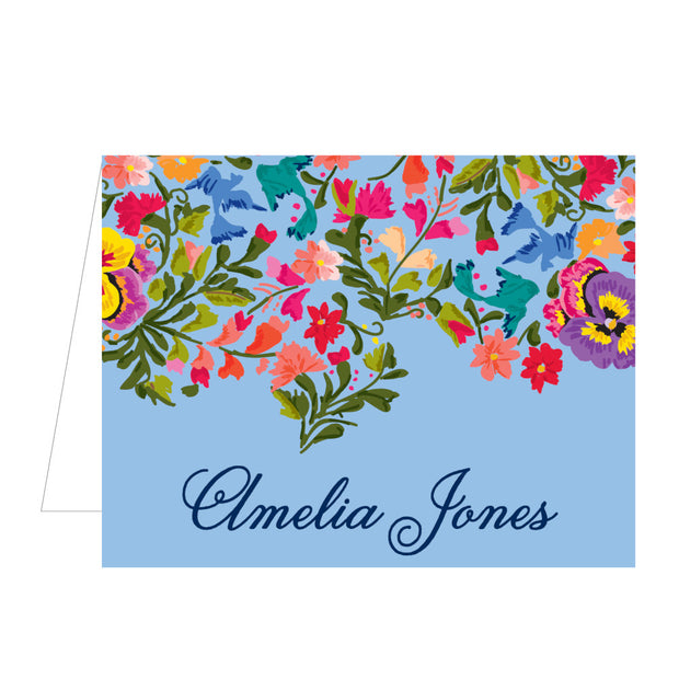 Colorful Flowers Folded Notecard