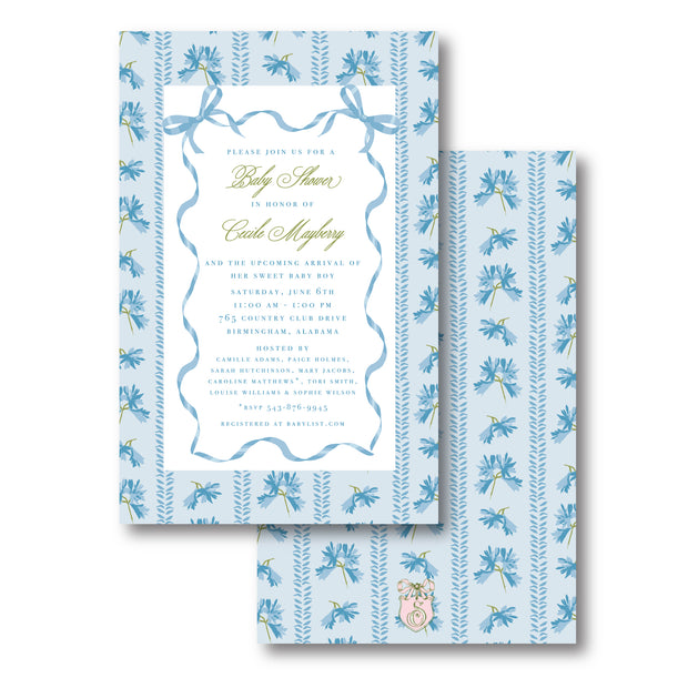 Blue Ribbon Invitation - Portrait