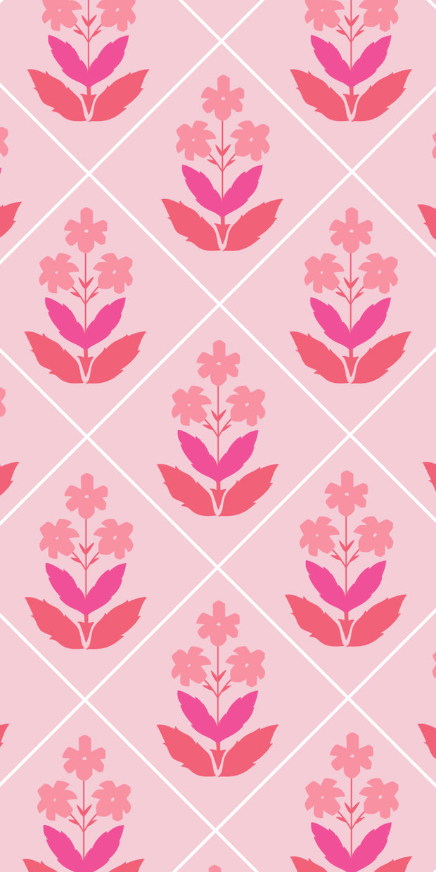 Flower Block Print Pink Gift Tag