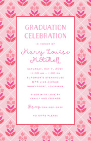 Flower Block Print Pink Invitation