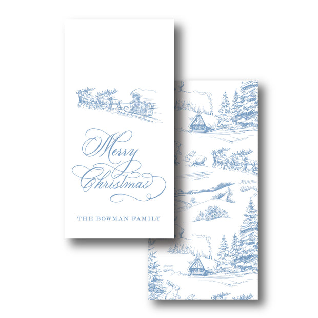 French Blue Christmas Toile Gift Tag