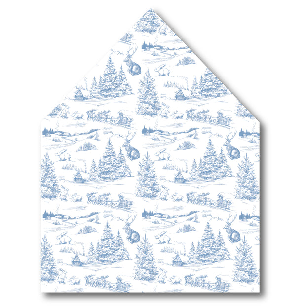 French Blue Christmas Toile Envelope Liner