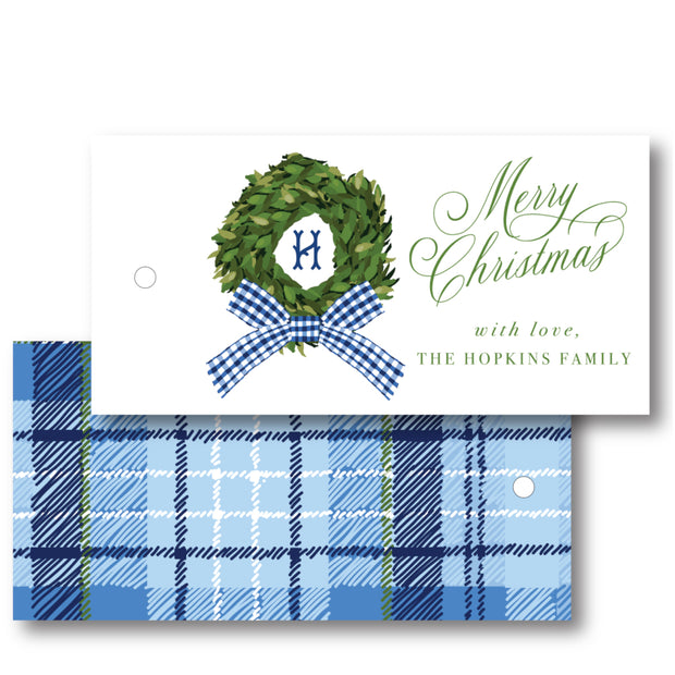 Gingham Wreath - Horizontal Gift Tag