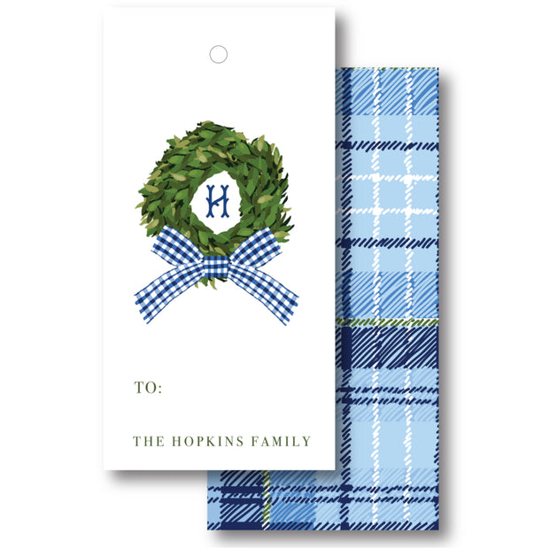 Gingham Wreath - Vertical Gift Tag
