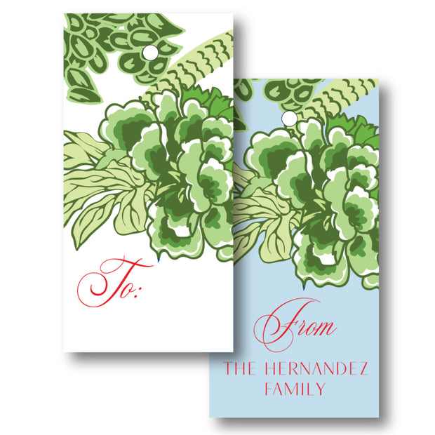 Green Chinoiserie - Vertical Gift Tag