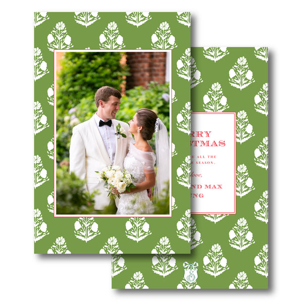 Green Block - Portrait Christmas Card