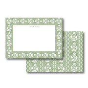 Green Scallop Flower Stationery